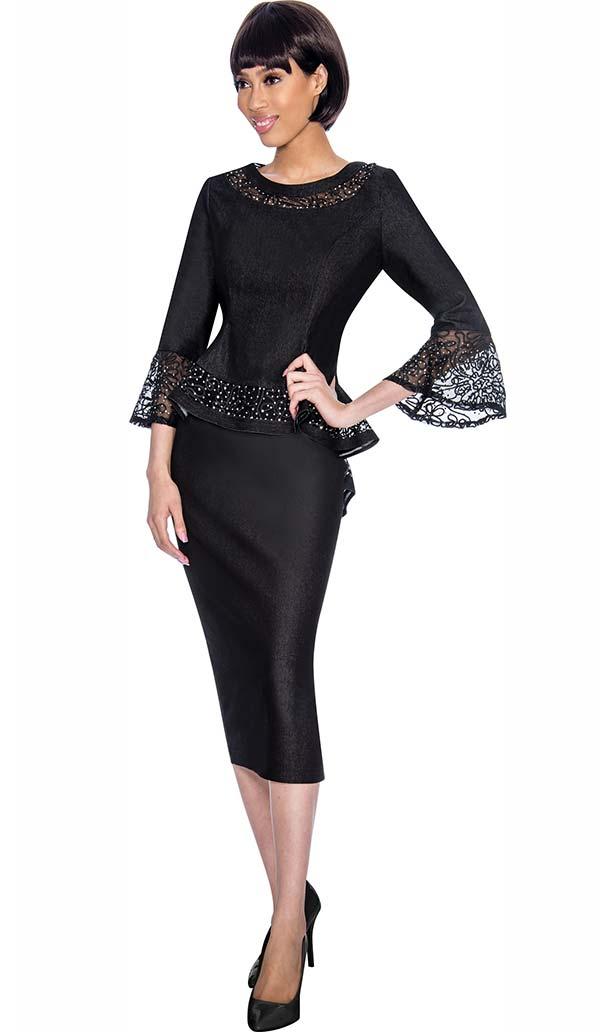 Devine Sport DS61942-Black - Denim Skirt Suit With Lace Accented Peplum Jacket