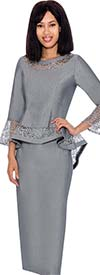 Devine Sport DS61942-Silver - Denim Skirt Suit With Lace Accented Peplum Jacket