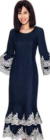 Devine Sport DS61951-Navy - Denim Double Flounce Dress With Lace Accents