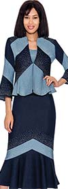 Devine Sport DS61973 - Embellished Denim Flared Skirt Suit With Striped Design