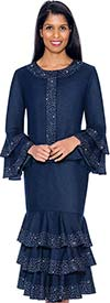 Devine Sport DS61982 - Embellished Denim Skirt Suit With Multi Tier Flounce Design