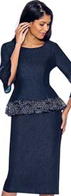 Devine Sport DS61992-Navy - Denim Skirt Suit With Lace Trimmed Long Peplum Jacket