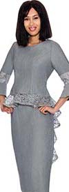 Devine Sport DS61992-Silver - Denim Skirt Suit With Lace Trimmed Long Peplum Jacket