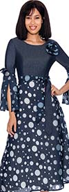 Devine Sport DS62041 - Polka Dot Pattern Designed Dress With Sash & Split Bell Sleeves
