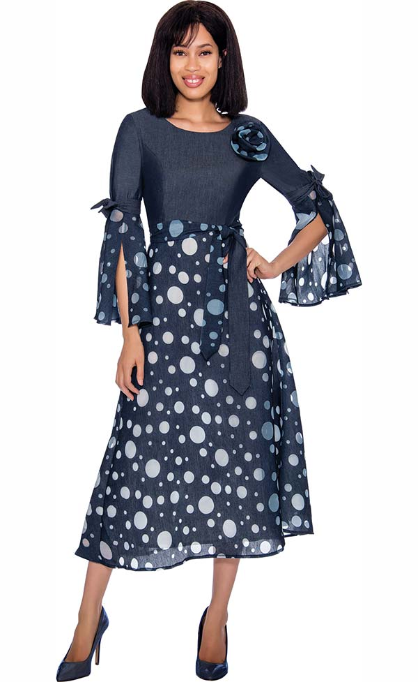 Devine Sport DS62041 - Polka Dot Pattern Designed Dress With Sash & Split Bell Sleeves