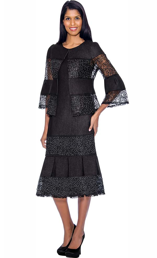 Devine Sport DS62052 - Lace & Rhinestone Embellshed Dress With Pleated Insets