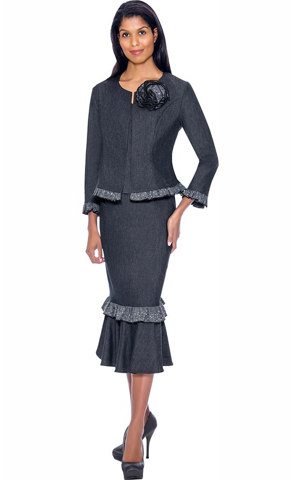 Devine Sport DS62073 - Soft Stretch Denim Flounce Skirt Suit With Ruffle Trims