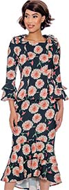 Devine Sport DS62092 - Floral Pattern Soft Stretch Flared Denim Skirt Suit With Bell Sleeves