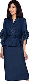 Devine Sport DS62112 - Embellished Soft Stretch Denim Skirt Suit With Ruffle Cuff Sleeves & Sash