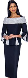 Devine Sport DS62122 - Soft Stretch Denim Skirt Suit With Off Shoulder Portrait Collar & Godet Pleated Jacket