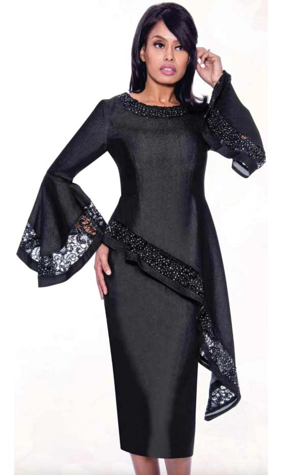 Devine Sport DS62242-Black - Lace Inset Design Denim Skirt Suit With Bell Sleeves & Offset High Low Top