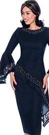 Devine Sport DS62242-Navy - Lace Inset Design Denim Skirt Suit With Bell Sleeves & Offset High Low Top