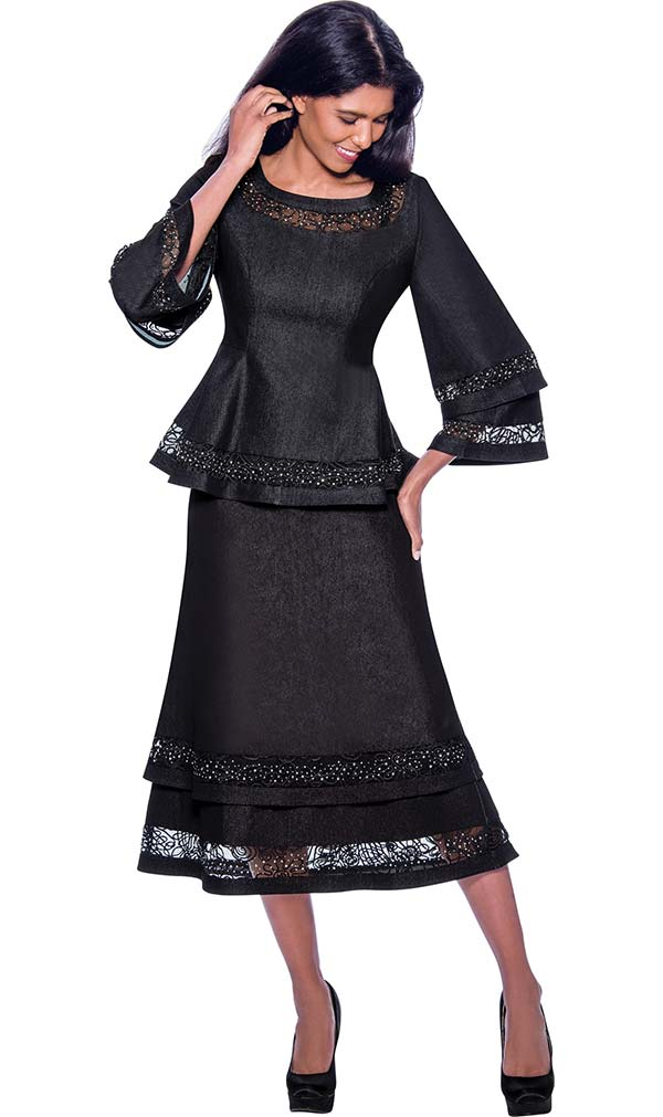 Devine Sport DS62282  - Embellished Lace & Denim Skirt Suit With Tiered Effect