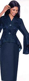 Devine Sport DS62312 - Womens Denim Lace Skirt Suit With Peplum Bell Sleeve Jacket