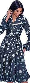 Devine Sport DS62321 - Womens Burn-Out Denim Pleated Dress In Polka Dot Print