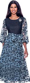 Devine Sport DS62331 - Womens Burn-Out Denim A-Line Printed Dress With Bishop Sleeves