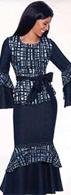 Devine Sport DS62342  - Burn-Out Denim Flounce Hem Skirt Suit With Sash