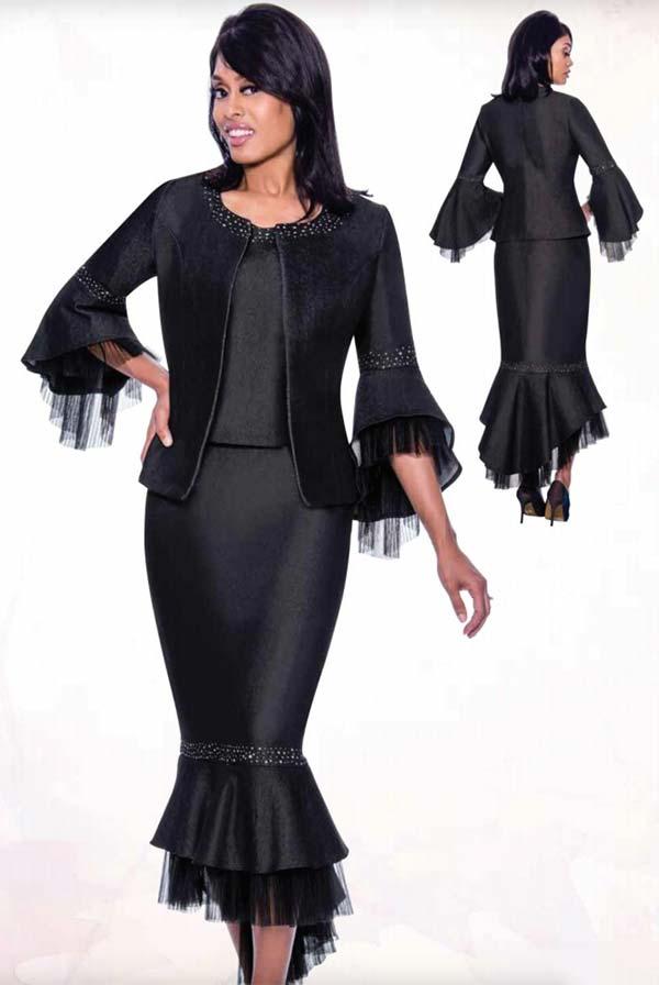 Devine Sport DS62353 - Three Piece Denim Skirt Suit With Sheer Ruffle Flounce Trims