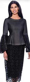 Devine Sport DS62362  - Lace & Denim Skirt Suit With Bell Sleeve Embellished Jacket