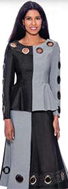 Devine Sport DS62382 - Grommet Detailed Flared Denim Skirt Suit With Peplum Jacket