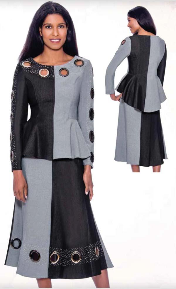 Devine Sport DS62382 - Grommet Detailed Flared Denim Skirt Suit With Peplum Jacket