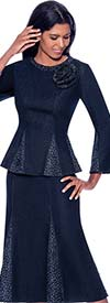 Devine Sport DS62392 - Godet Effect Denim Skirt Suit With Embellished Details
