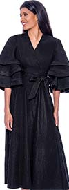 Devine Sport DS62411-Black - Pearl Trimmed Denim Dress With Sash And Multi Tier Sleeves