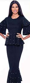 Devine Sport DS62422 - Pearl Trimmed Flounce Hem Denim Skirt Suit With Peplum Two Tier Sleeve Jacket