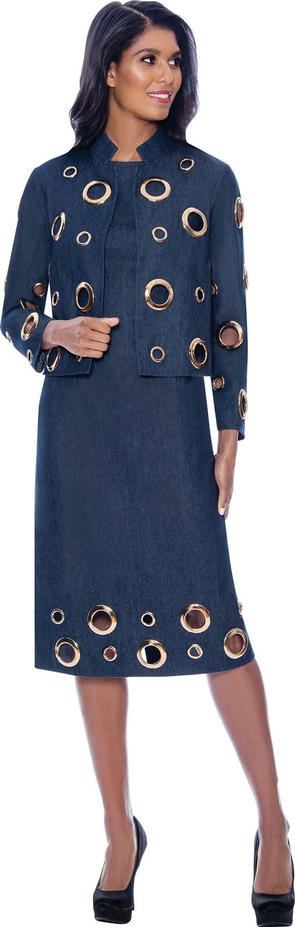 Devine Sport DS62742 - Soft Stretch Denim Dress Suit With Oversized Grommet Details