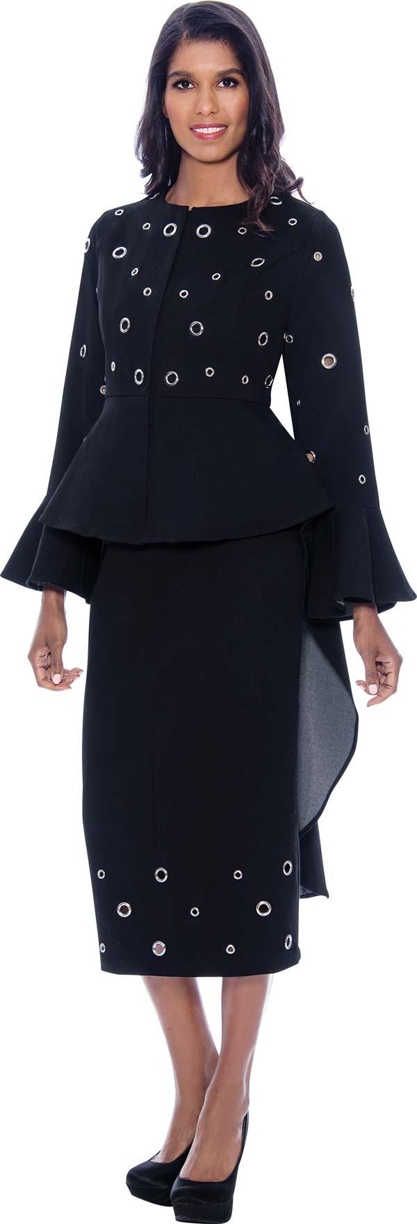 Devine Sport DS62753-Black - Soft Denim Skirt Suit With High-Low Style Jacket Featuring Grommet Details