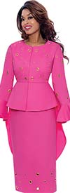 Devine Sport DS62753-Fuchsia - Soft Denim Skirt Suit With High-Low Style Jacket Featuring Grommet Details