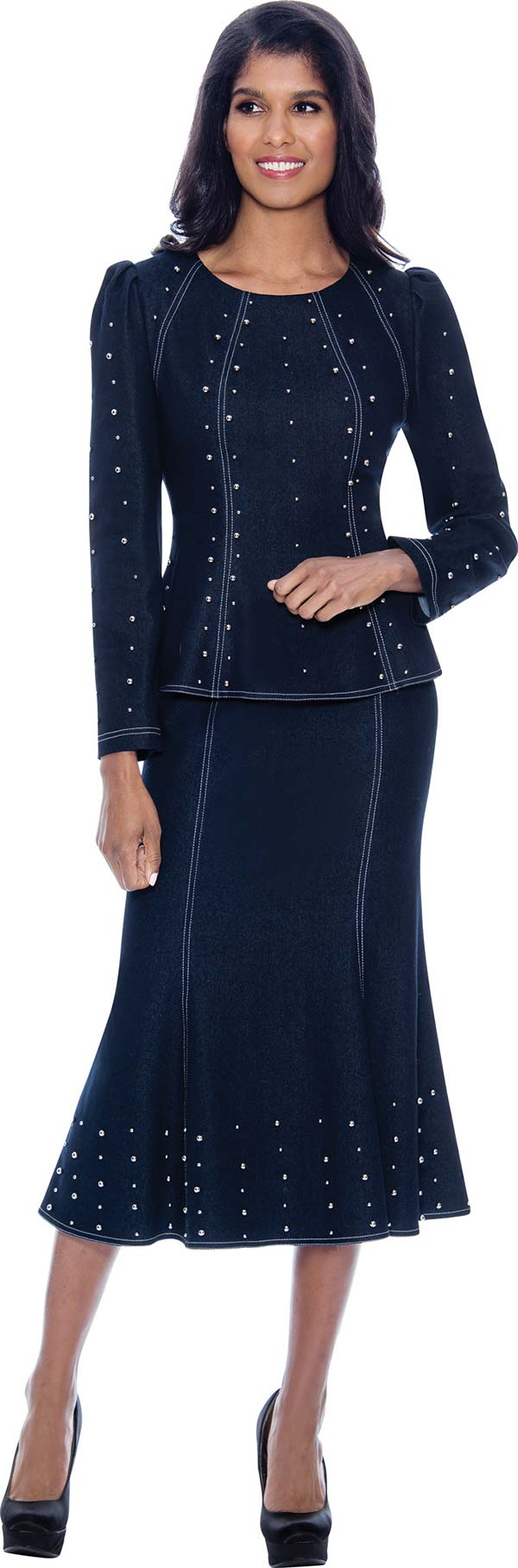 Devine Sport DS62762 - Soft Stretch Denim Flared Skirt Suit With Embellished Vertical Details