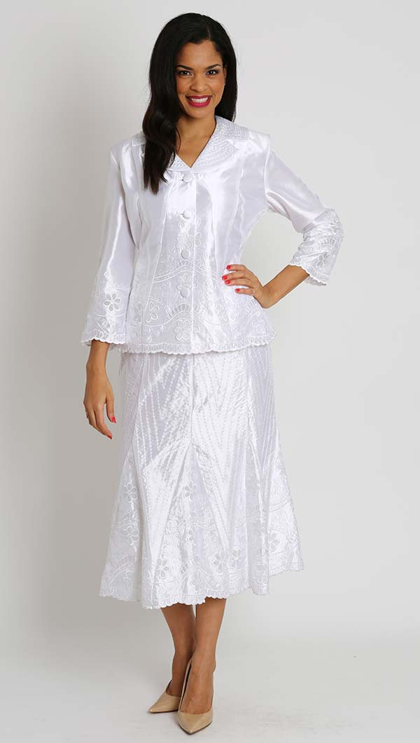 Diana 7066 - Womens Two Piece Skirt Suit With Embroidery Detail