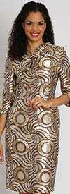Diana 8128 - Womens Dress In Spiral Design Print With Bow Accent