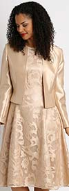 Diana 8138-Champagne - Lace Dress With Silky Twill Jacket