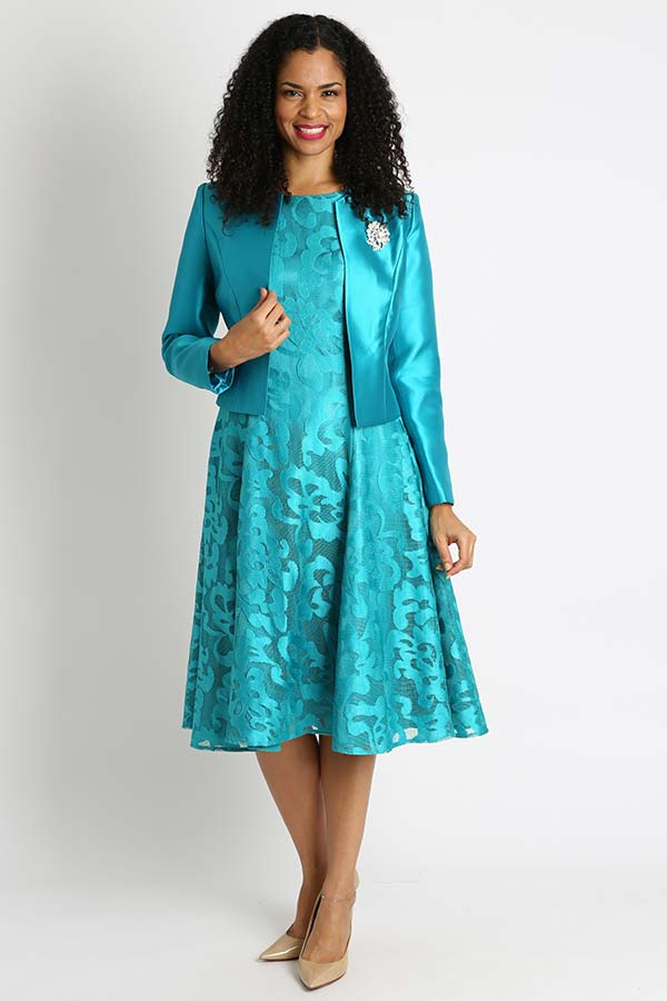 Diana 8138-Jade - Lace Dress With Silky Twill Jacket