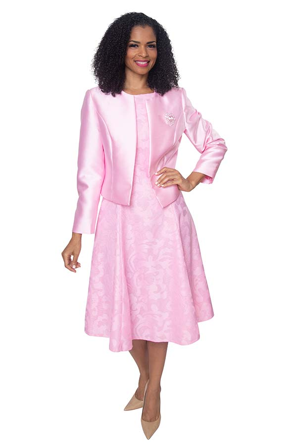 Diana 8138-Pink - Lace Dress With Silky Twill Jacket