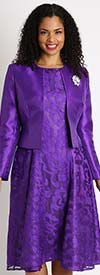 Diana 8138-Purple - Lace Dress With Silky Twill Jacket
