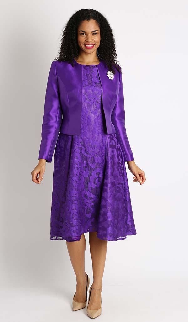 Diana 8138-Purple - Lace Dress With Silky Twill Jacket