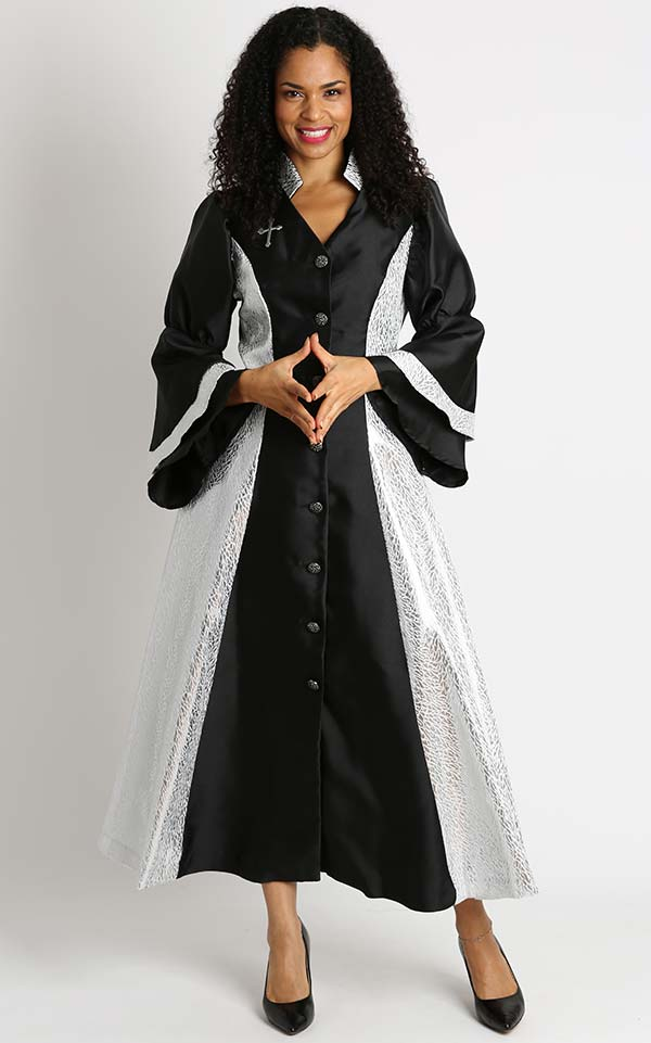 Diana 8147-BlackSilver - Womens Church Robe With Cross Accents And Layered Sleeves