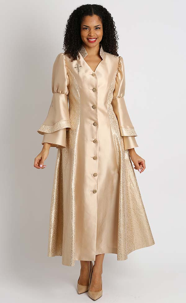 Diana 8147-Gold - Womens Church Robe With Cross Accents And Layered Sleeves