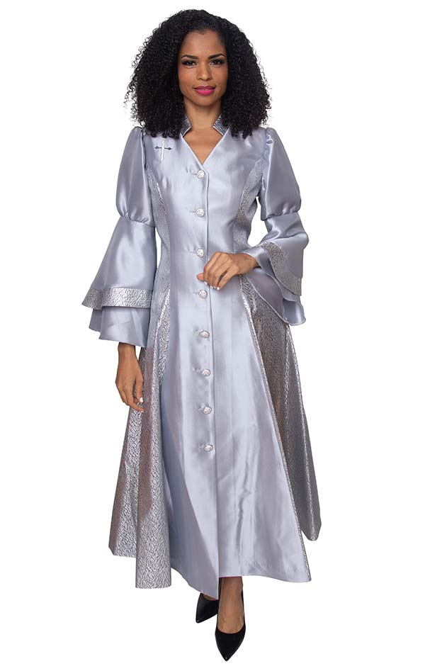 Diana 8147-Silver - Womens Church Robe With Cross Accents And Layered Sleeves