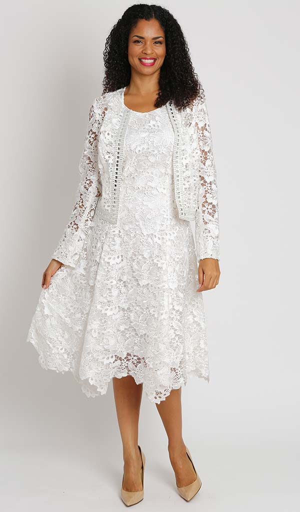Diana 8190-Ivory - Two Piece Lace Dress And Jacket Set
