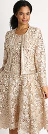 Diana 8190-Champagne - Two Piece Lace Dress And Jacket Set