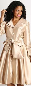 Diana 8222-Champagne - Pleated Jacket Dress With Layered Notch Lapel & Sash