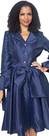 Diana 8222-Navy - Pleated Jacket Dress With Layered Notch Lapel & Sash