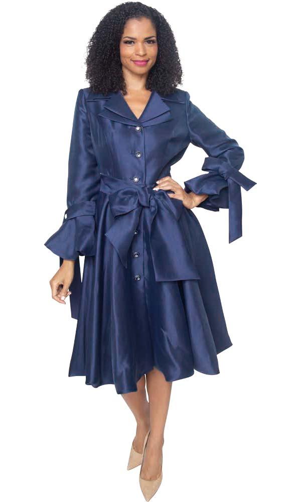Diana 8222-Navy - Pleated Jacket Dress With Layered Notch Lapel & Sash