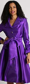 Diana 8222-Purple - Pleated Jacket Dress With Layered Notch Lapel & Sash