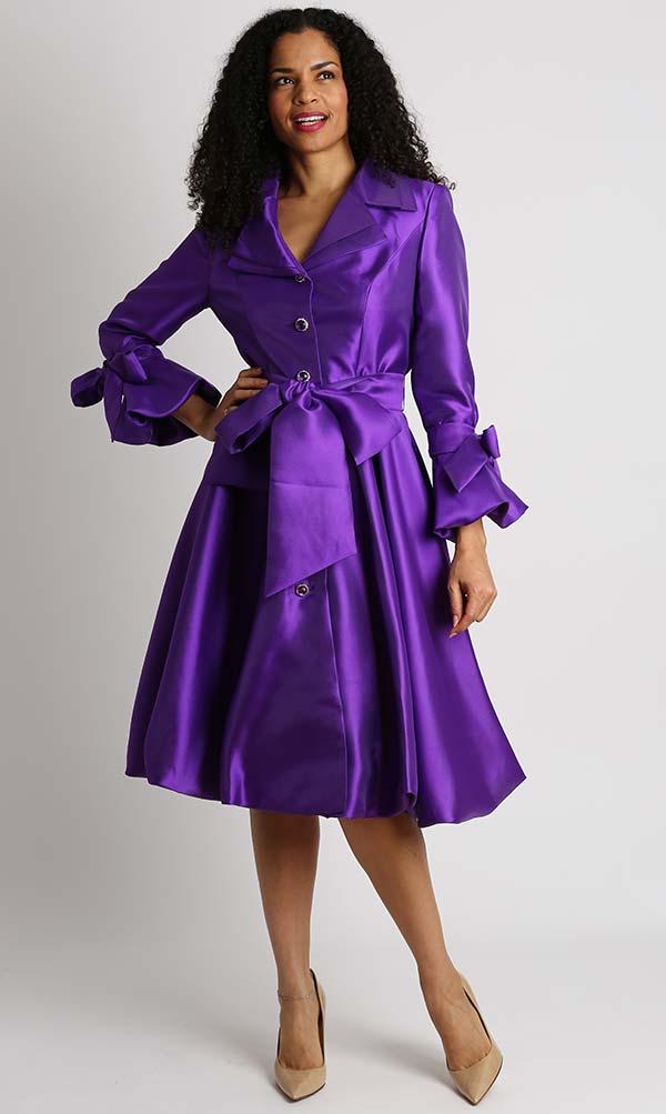 Diana 8222-Purple - Pleated Jacket Dress With Layered Notch Lapel & Sash