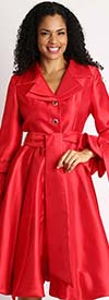 Diana 8222-Red - Pleated Jacket Dress With Layered Notch Lapel & Sash